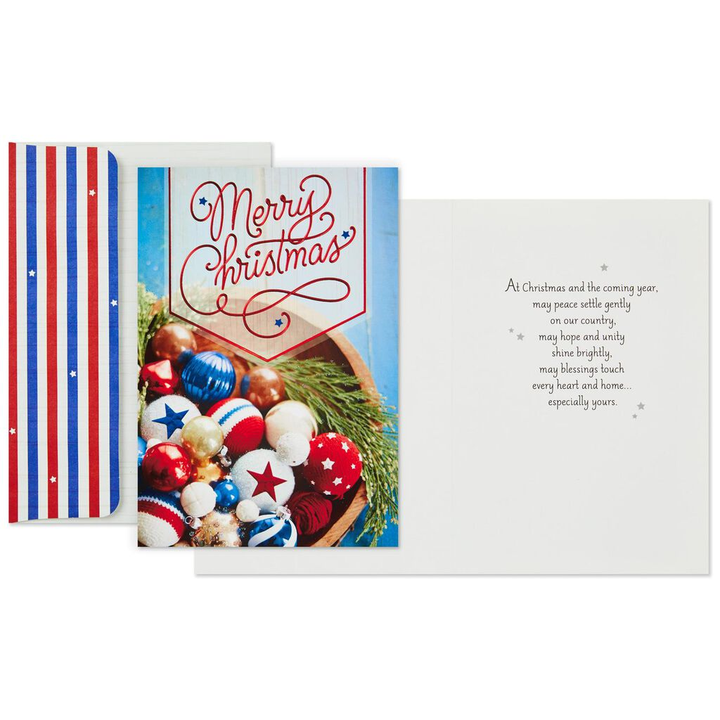 Stars and Stripes Patriotic Ornaments Christmas Cards, Box of 16 ...
