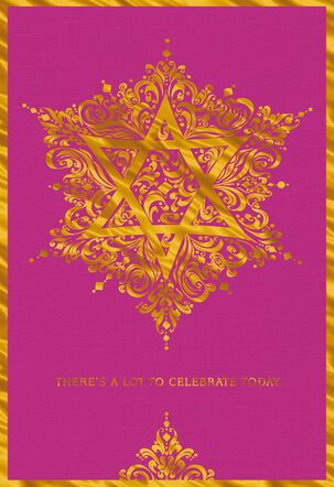 Golden Star of David Bat Mitzvah Money Holder Card