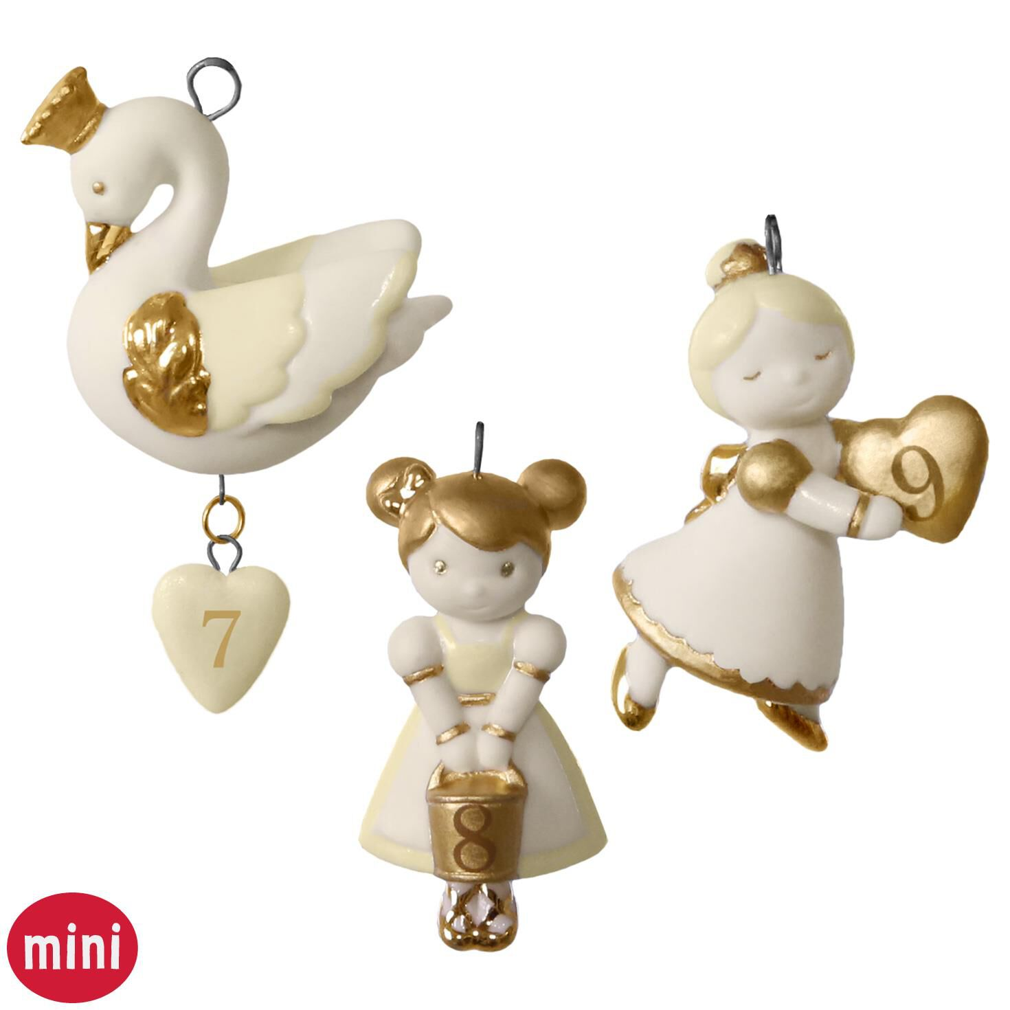 12 Little Days of Christmas: Set of Days 7-9 Mini Porcelain ...