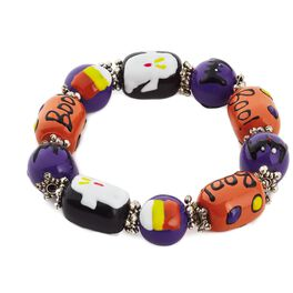 Purple, Orange and Black Halloween Glass Beaded Bracelet, , large