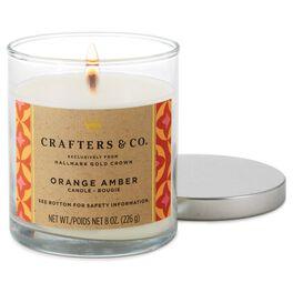Orange Amber Glass Pillar Candle, , large