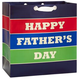 "Father's Day Stripe X-Deep Gift Bag, 15"", , large"