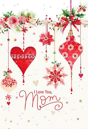 Heart and Flower Ornaments Christmas Card for Mom