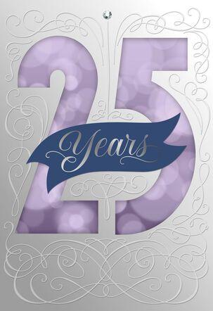 Purple Bubbles 25th Anniversary Card
