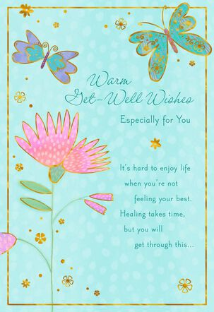 Butterflies and Flower Healing Takes Time Get Well Card