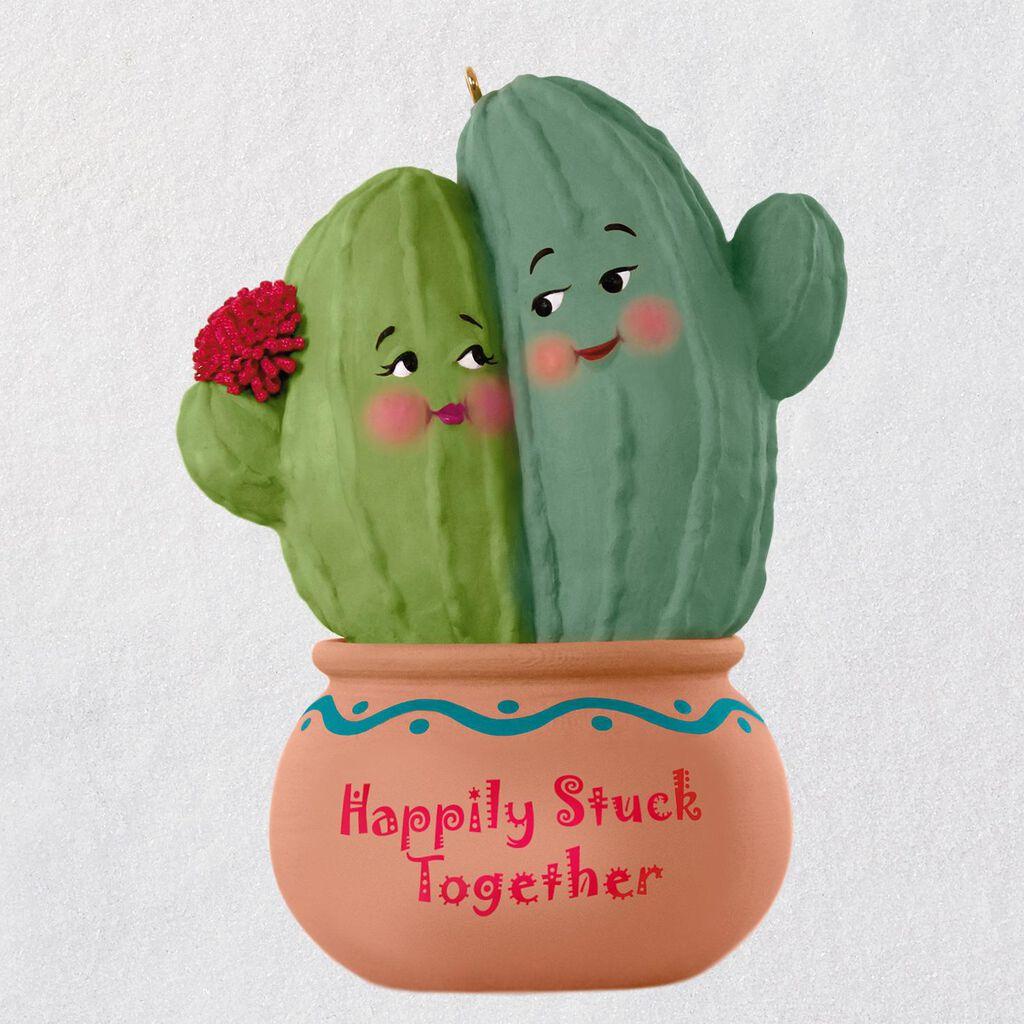 happily stuck together cactus ornament keepsake ornaments hallmark