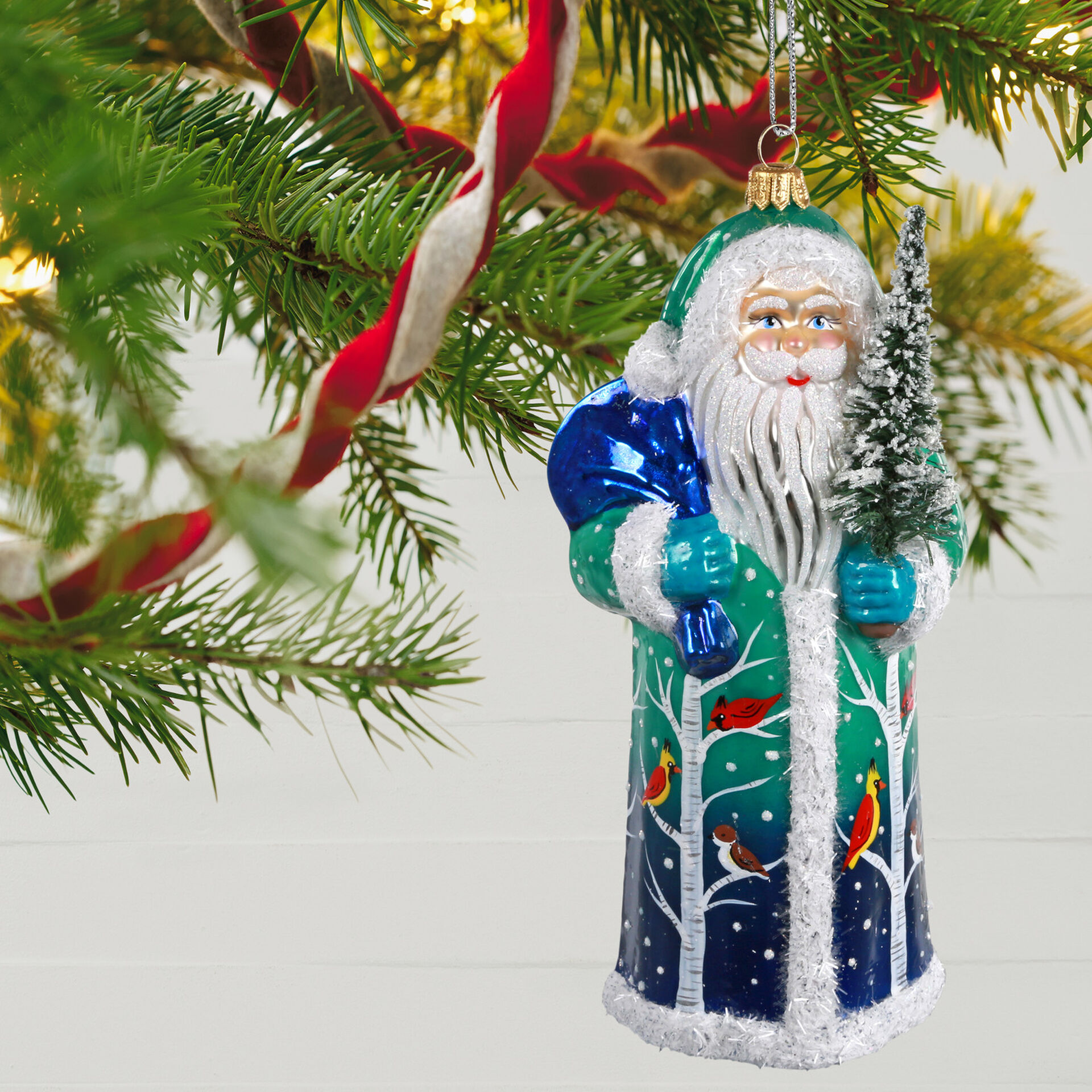Santa with Tree 12cm Salmon Matt Thuringian Glass Christmas Ornament favorite pieces
