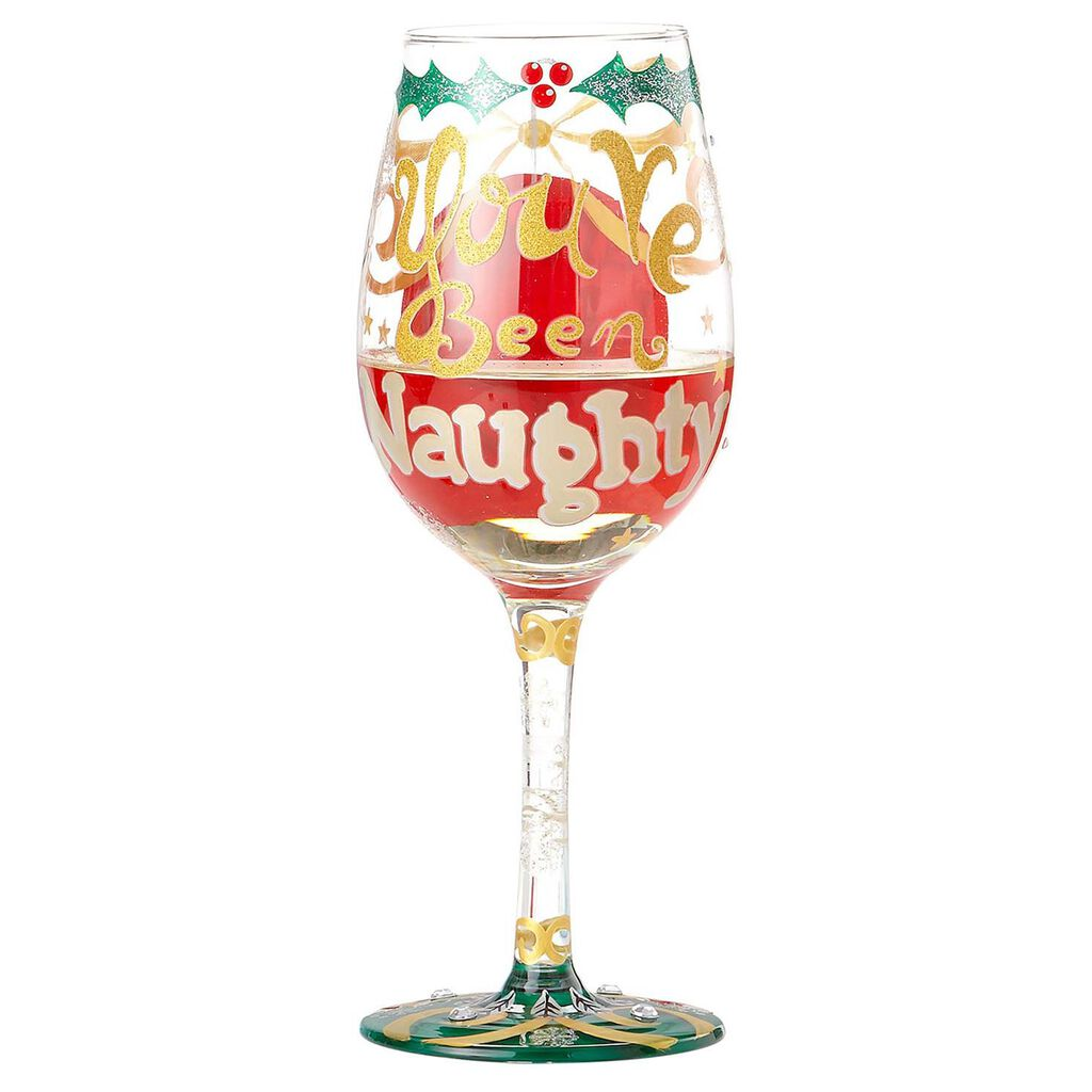 Lolita Christmas Naughty List Handpainted Wine Glass 15 Oz