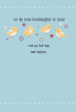 Yellow Chicks Easter Card for Great-Granddaughter