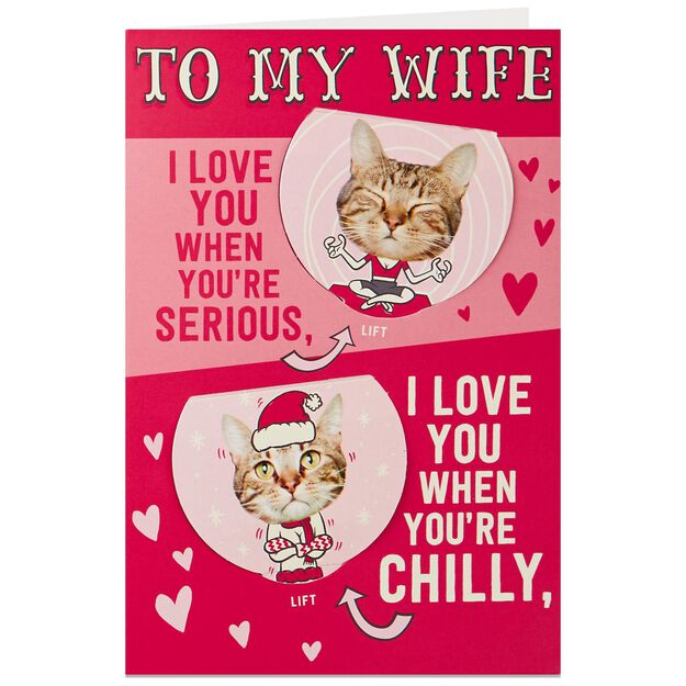 Funny Cat PopUp Valentines Day Card for Wife  Greeting Cards