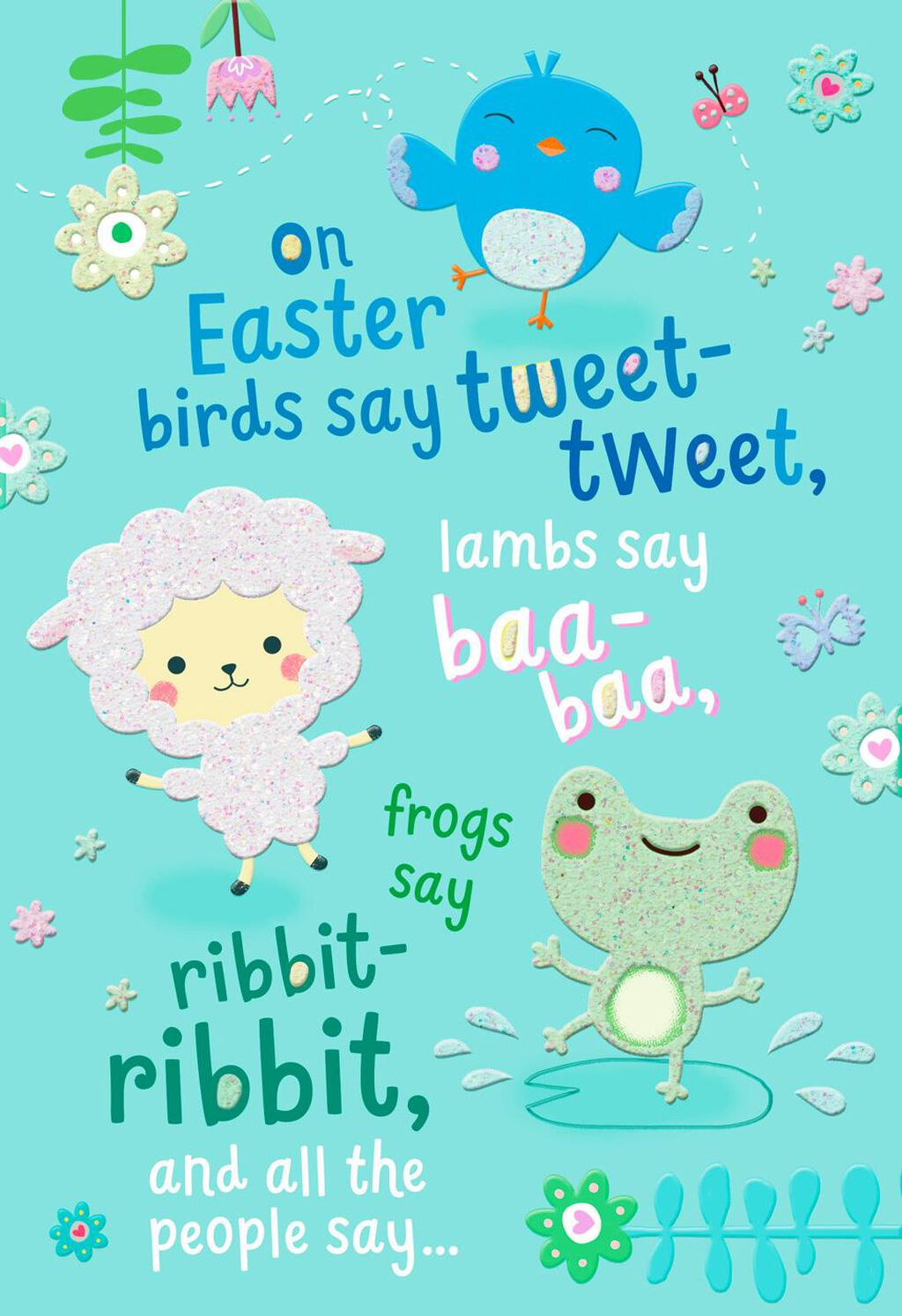 sweet animals religious easter card for child greeting cards