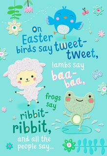 Sweet Animals Religious Easter Card for Child,