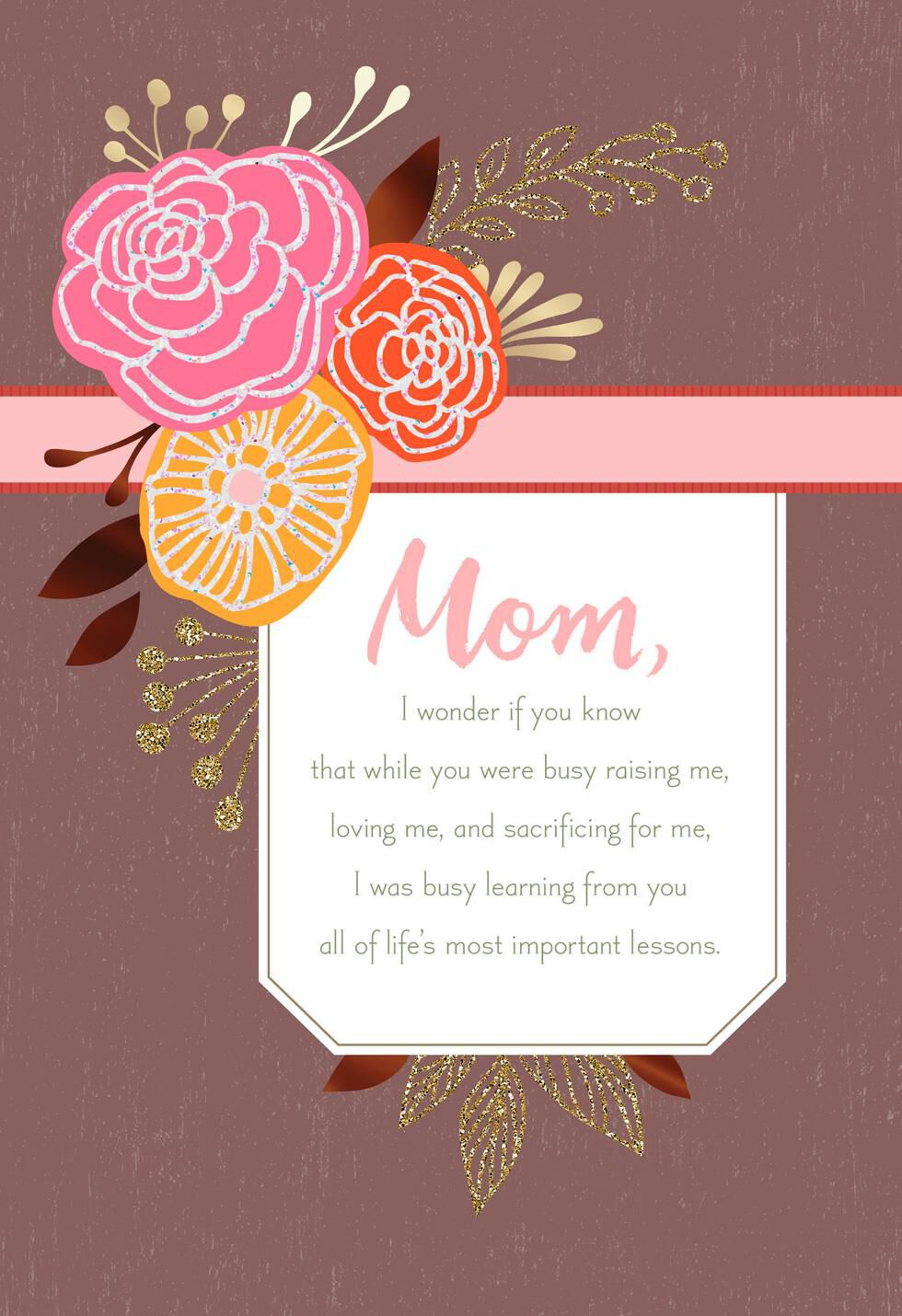 Lifeu0027s Most Important Lessons Birthday Card For Mom,