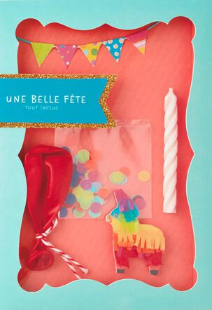 Party in a Box French-Language Birthday Card