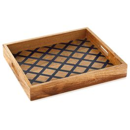 Navy Lattice Design Wood Serving Tray, , large
