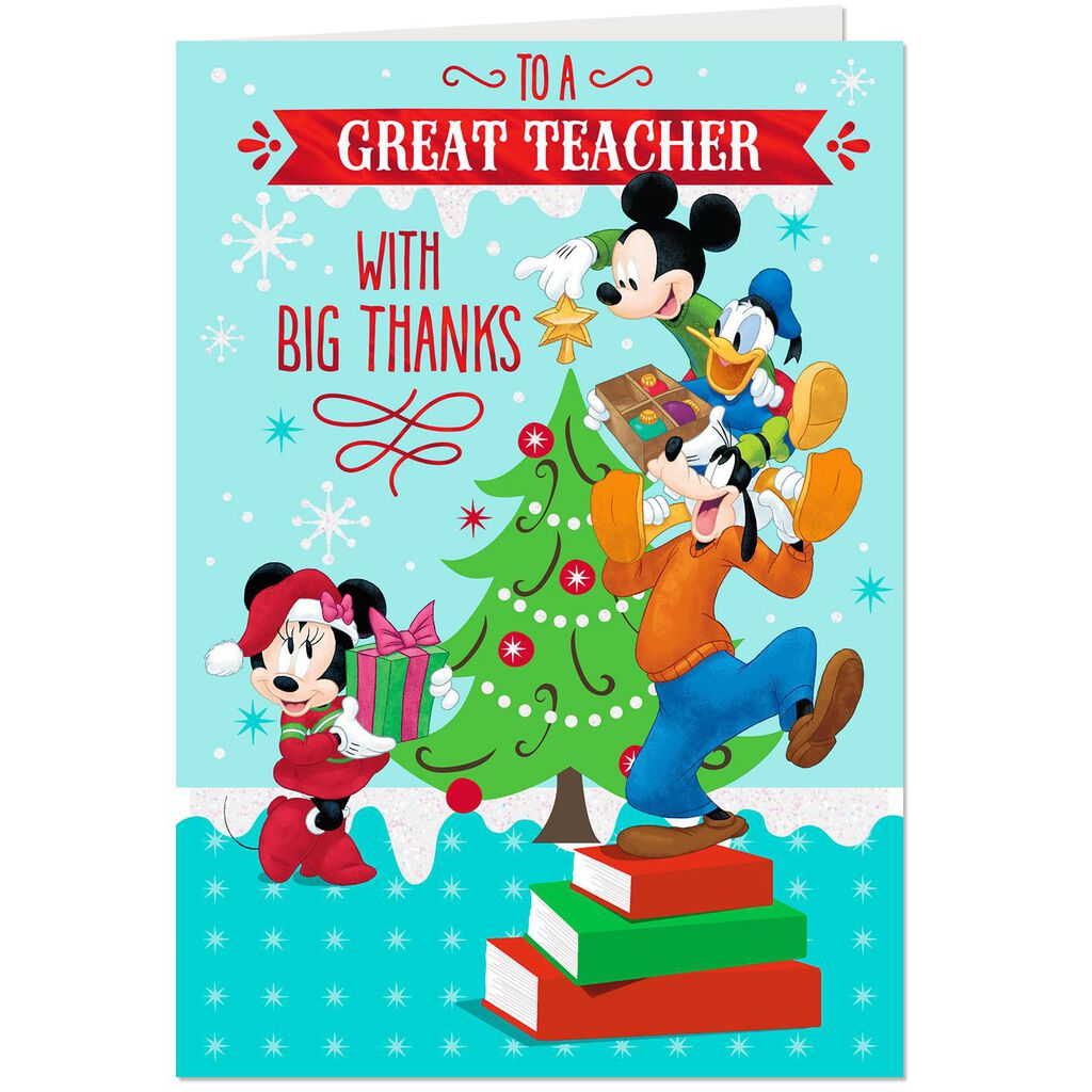 Disney Mickey and Friends Great Teacher Christmas Card - Greeting ...
