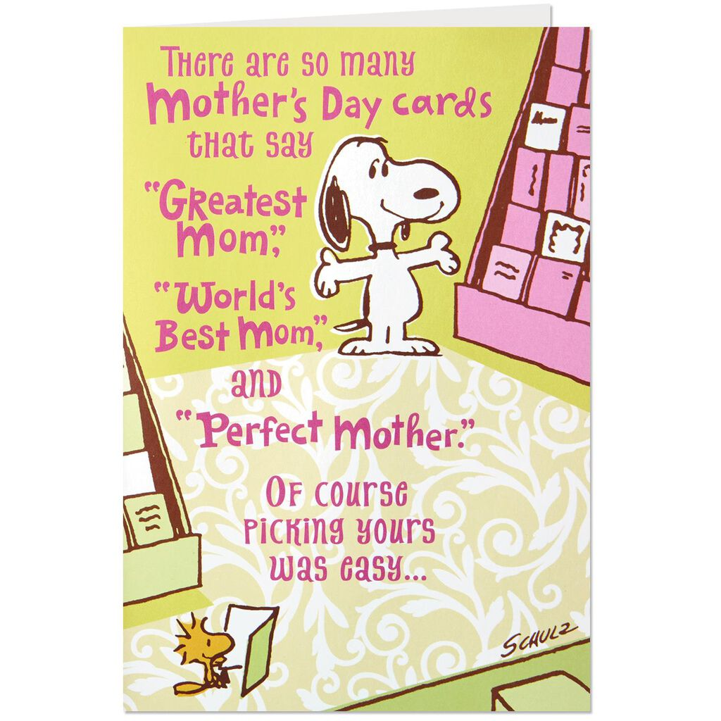 Peanuts Snoopy In A Card Shop Mothers Day Card Greeting Cards
