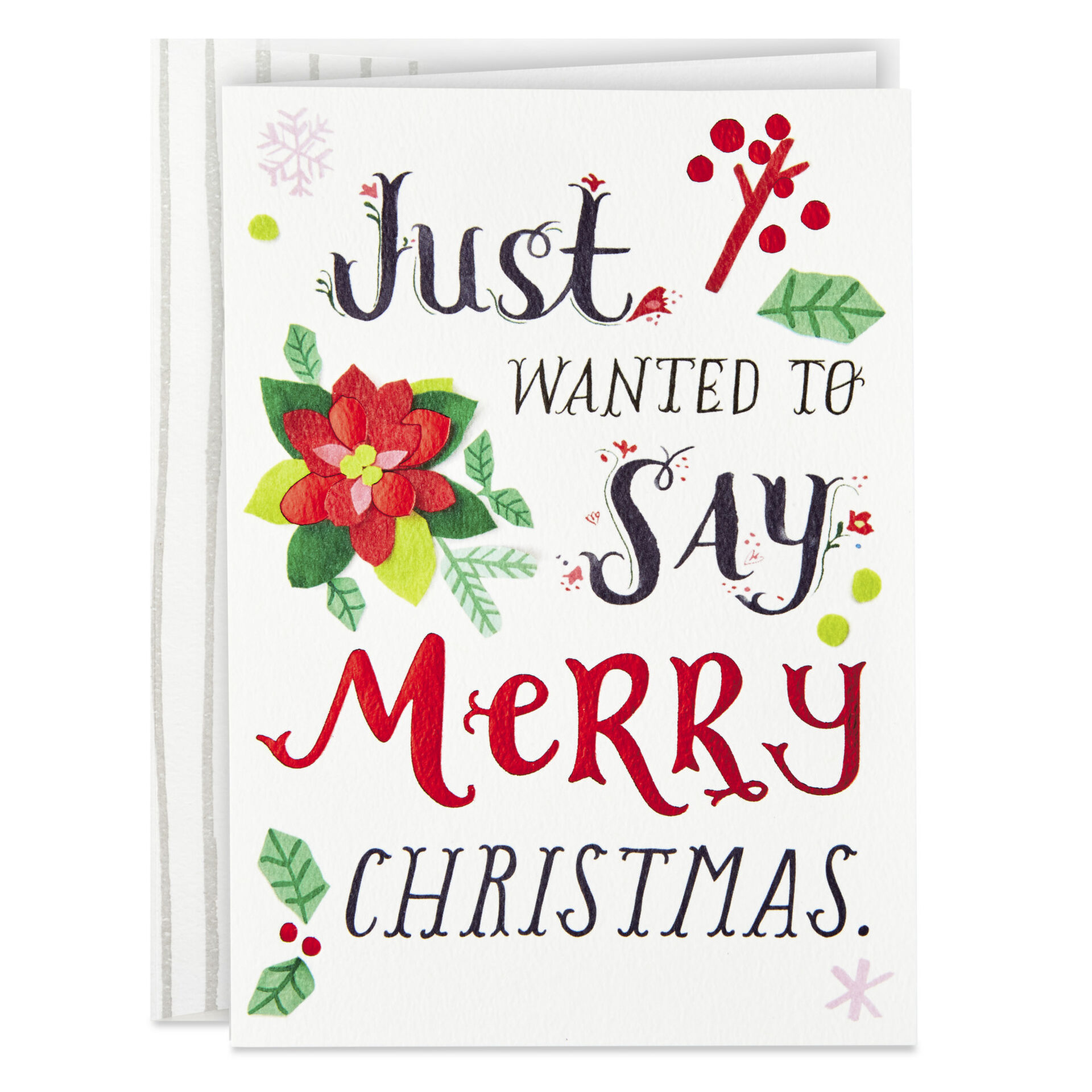 Lettering And Poinsettia Merry Christmas Cards Box Of 12 Boxed Cards Hallmark