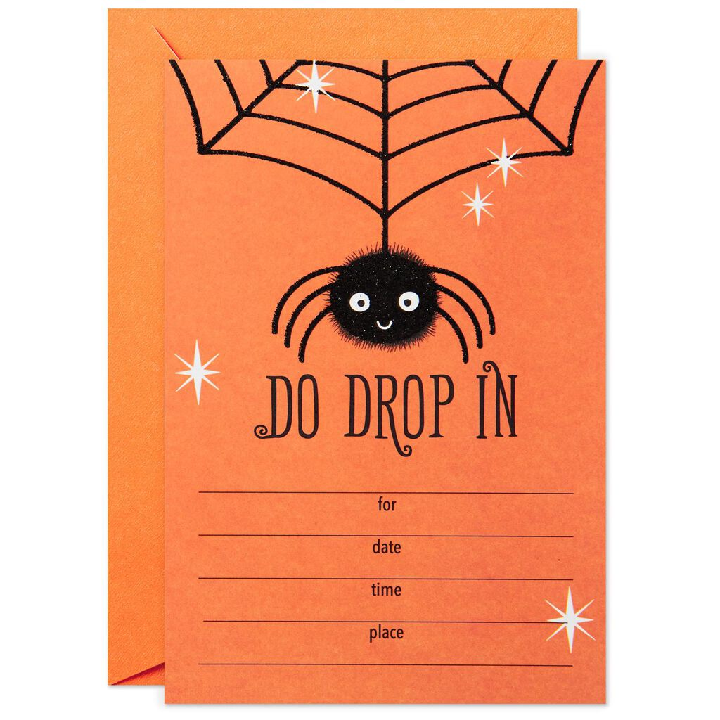 Drop In Spider Halloween Party Invitations Pack Of 10 Invitations