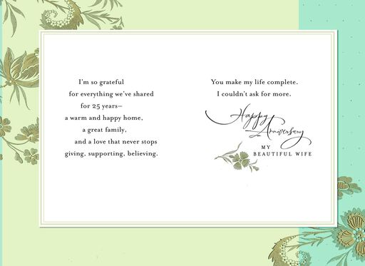 Floral 25th Anniversary Card for Wife,