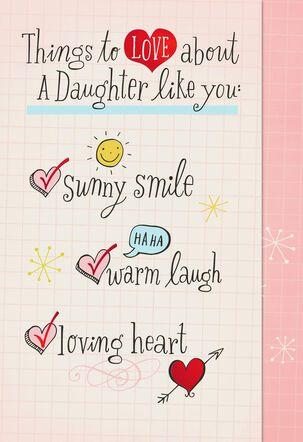 Daughter Love Checklist Valentine's Day Card