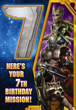 Guardians of the Galaxy 7th Birthday Card With Temporary Tattoo