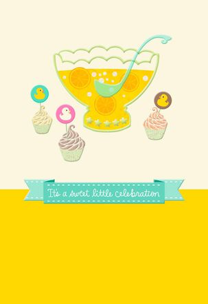 Duckling Cupcakes and Punch Bowl New Baby Card