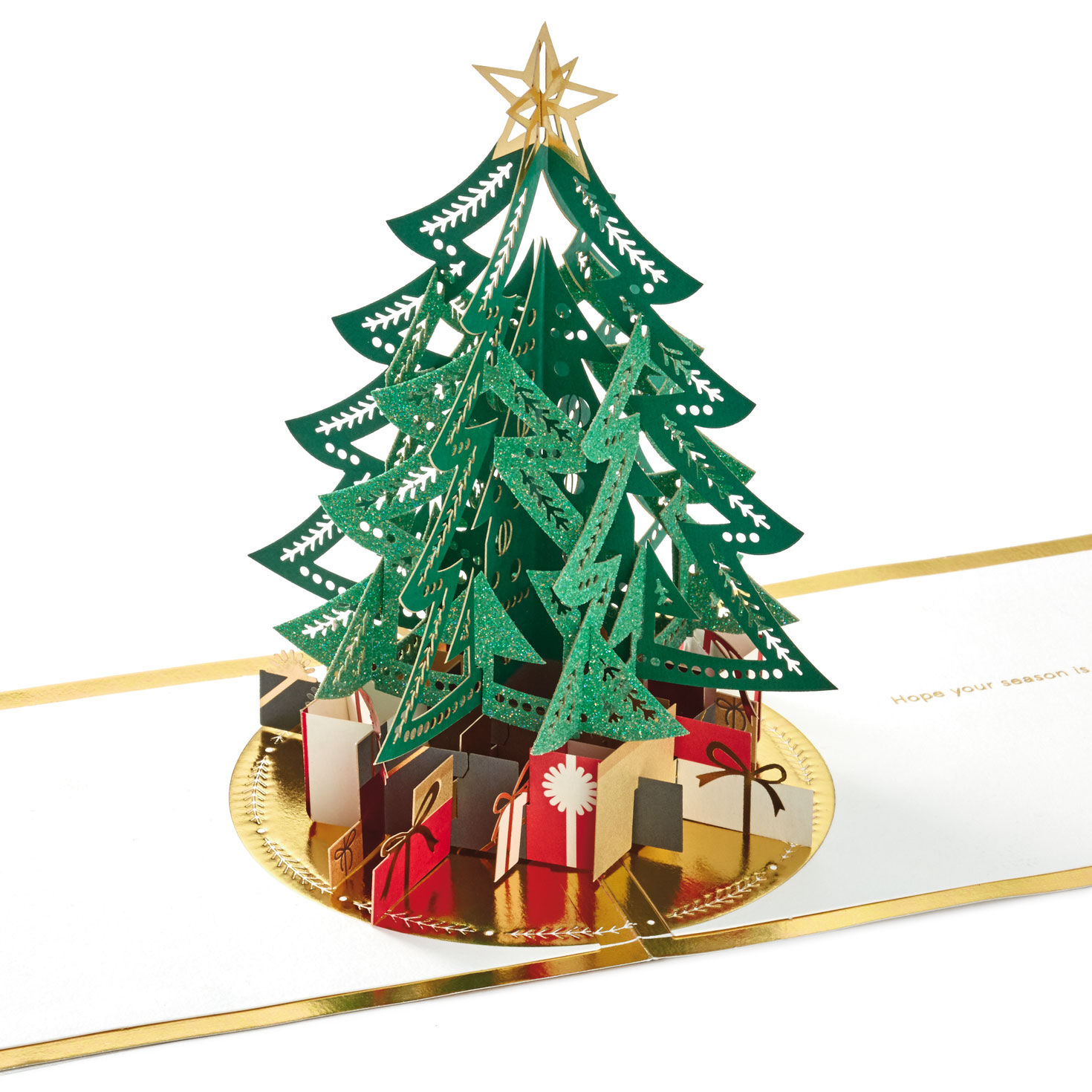 Pack of 100 /'Star Topped Tree/' Christmas Cards Including Envelopes
