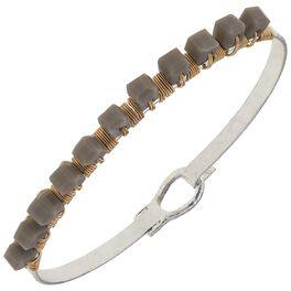 Gray Beaded Bangle Bracelet, , large