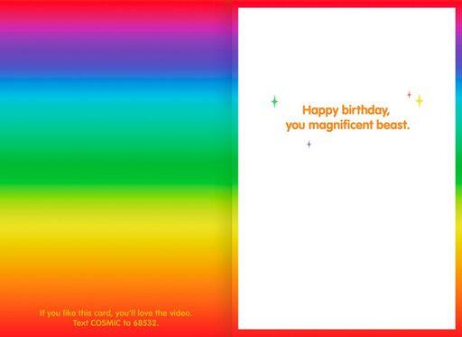 Dog Puking Rainbows Funny Birthday Card,