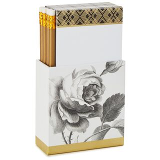 Classic Black and Gold Vertical Memo Notes Caddy With Pencils, 250 sheets,