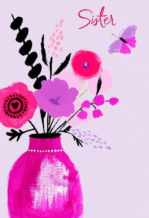 UNICEF Floral Vase Valentine's Day Card for Sister
