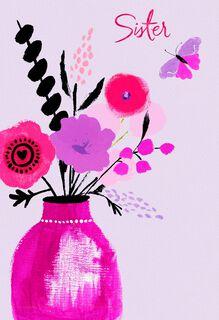 UNICEF Floral Vase Valentine's Day Card for Sister,