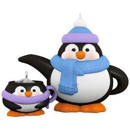 Tea Time! Penguin Teapot and Teacup Porcelain Ornaments, Set of 2, , large