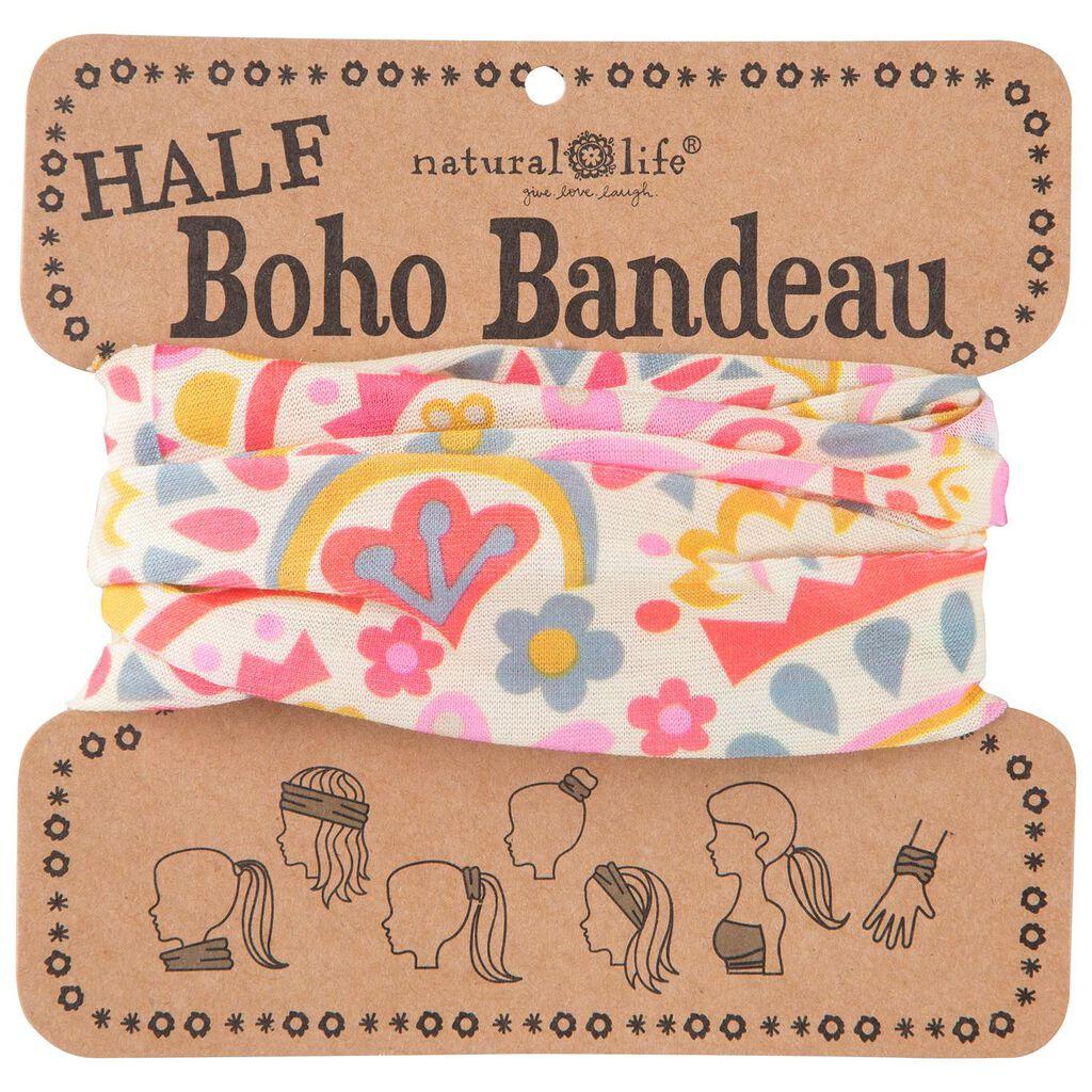 Natural Life Cream and Pink Geometric Half Boho Bandeau - Scarves ... 4d9a82e9cb2