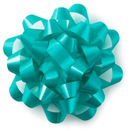 "Turquoise Blue High Gloss Ribbon Confetti Gift Bow, 4 5/8"", , large"
