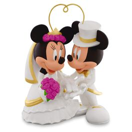 """I Do"" Times Two Mickey and Minnie Porcelain Wedding Ornament, , large"
