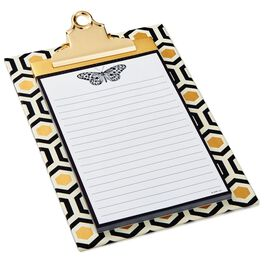 Classic Black and Gold Geometric Butterfly Clipboard, , large