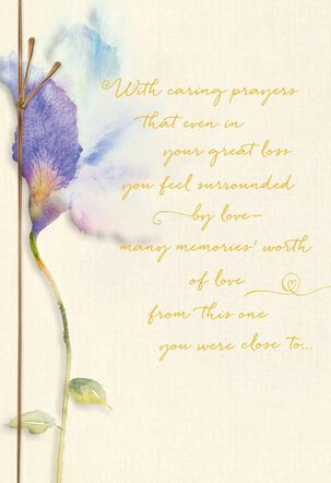 Pastel Bloom and Prayers Religious Sympathy Card