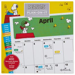 Peanuts® 2018 Large Grid Wall Calendar With Stickers, 12-Month, , large