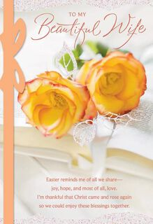 Roses for Wife Religious Easter Card,