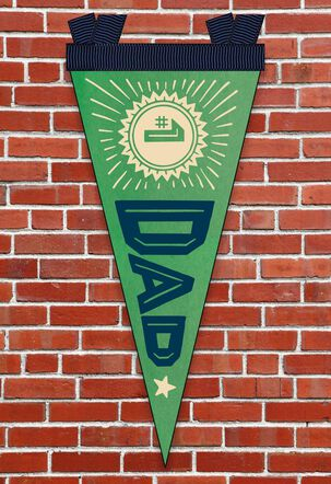 #1 Dad Father's Day Card With Felt Pennant