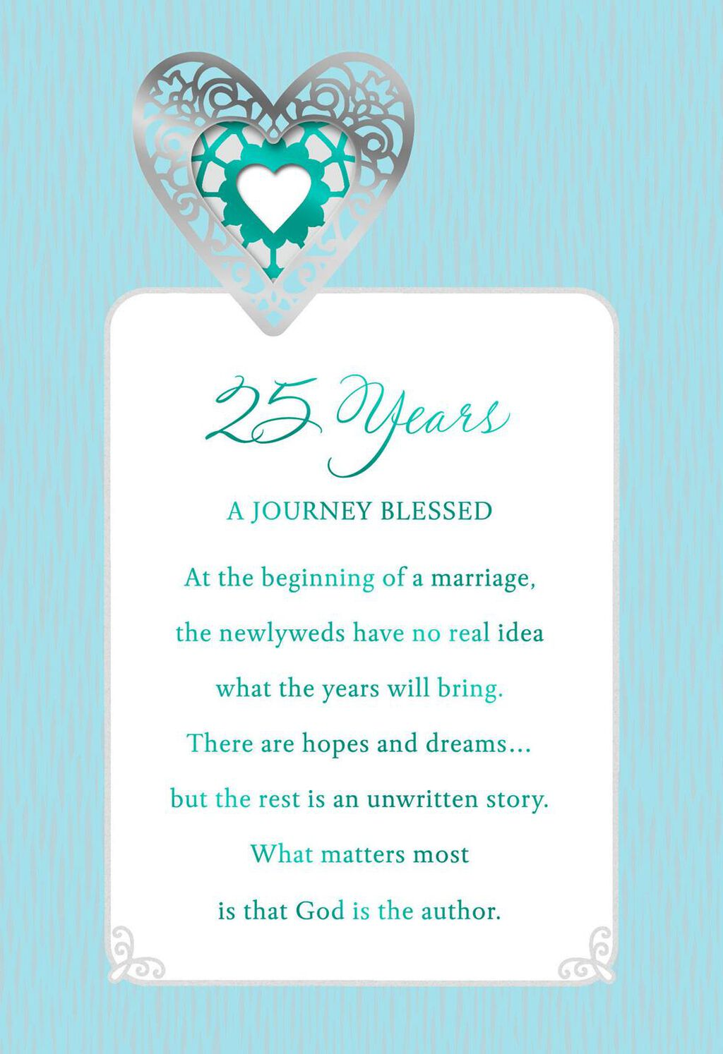 The Blessing Of Marriage 25th Anniversary Card Greeting Cards