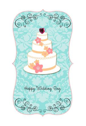 Cake With Heart Topper Wedding Card