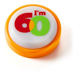 60th Birthday Mini Sound Button with Light, , large