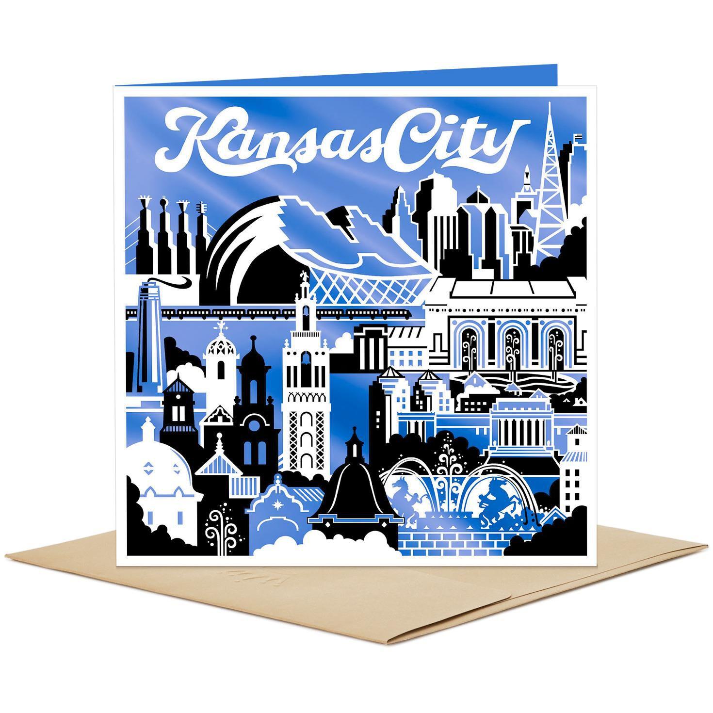 Kansas City Skyline and Icons Blank Card Greeting Cards Hallmark