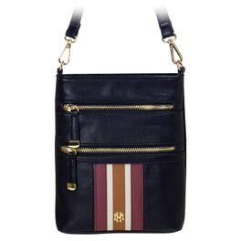 Mark & Hall Black Stripe Multizip Crossbody Bag, , large