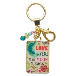 Natural Life Glitter and Gold Keychain Moon and Back, , large