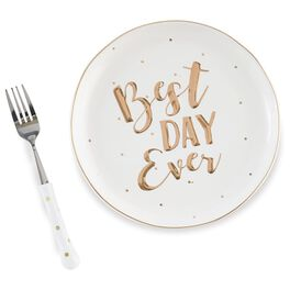 Mud Pie® Best Day Ever Cake Plate and Fork Set, , large