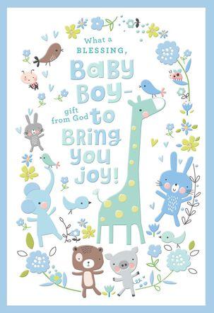 Giraffe and Animal Friends New Baby Boy Card